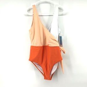 NWT Peach Orange and White Cupshe Bathingsuit Lg